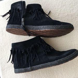 UGG Suede Black Fringe Bootie size 8